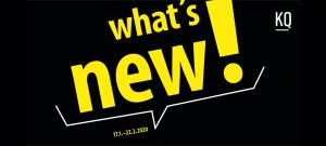 Vorderseite Einladungskarte mit dem Text what's new