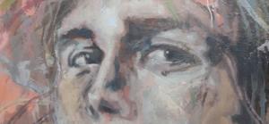 Ein Auschnitt mit fragenden Augen einer Malerei von Sebastian Osterhaus